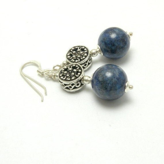 Silver Earrings with lapis - natural stone, bali bead, blue