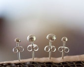 Silver nuggets studs. 4mm and 2.5mm