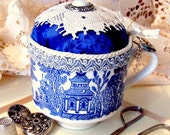 Vintage blue willow english teacup cobalt blue and white pincushion pinkeep with lace TAGT