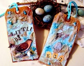 Set of 2 robin's egg blue altered vintage style paper hand stained collage bird tags TAGT
