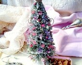 Victorian Pink beaded ivory lace gold trim decorated bottle brush table top Christmas Valentine's Day winter  holidays TAGT tenx