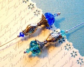 One Fish, Two Fish, Aqua Fish, Blue Fish in a fountain Victorian Hat Pin or Pisces Scarf Pin TAGT