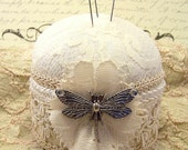 Dragonly on a Cream Peony Victorian ivory lace and ecru feminine pincushion with tack pins