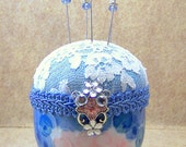 Pincushion needlecraft handpainted traditional Chinese rice bowl blue pink white Swarovski accents and decorative straight pins TAGT