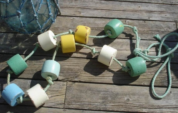 Vintage Fish Float String, Beach Decor