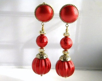 Huge Metallic Red Disco Ball Dangle Clip Earrings