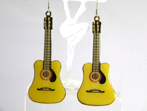 Yellow and Black  Pierced Lucite Guitar Earrings