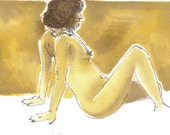 Original watercolour painting - Naked Lady in ochre and sepia