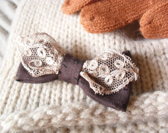 30% off dark brown bow brooch with vintage lace