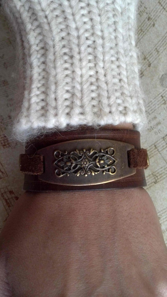 Woman's Brown Leather Antique Brass Filigree Cuff