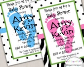 Dots and Feet Baby Shower Invitation (070) - DIY Printable - Domestically Swanky Designs