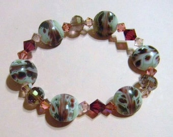 Art Glass and Crystal Stretch Bracelet