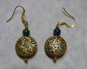 Tibetan Brass and Turquoise and Chrysocolla Earrings