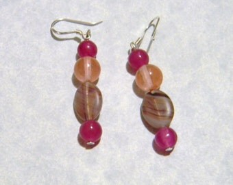 Purple and Orange Givre Bead Earrings with Purple dyed Jade and Cherry Quartz.