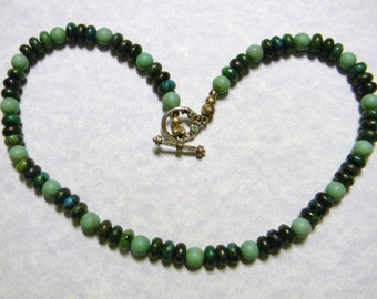 Green Turquoise and Chrysocolla Necklace