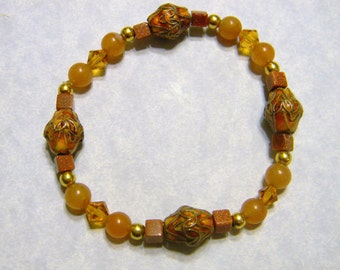 Stretch Bracelet with Peach Cloisonné Beads, Goldstone, Peach Aventurine, Crystals and Gold Beads