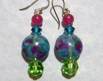 Art Glass Bead, Crystal and Gemstone Earrings in Shades of Blue, Green and Purple.
