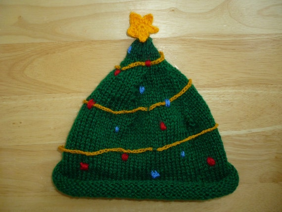 Knitted Christmas Tree Hat Pattern : Items similar to knitted christmas tree hat on Etsy