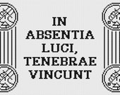 Hellboy BPRD latin motto counted cross stitch sampler PDF pattern