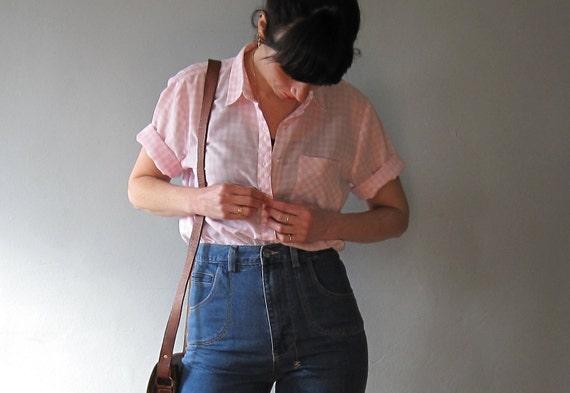 SALE 50% OFF - Vintage Blouse, Pink/White Gingham //CL42