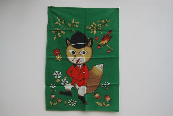 SALE 50% OFF - Vintage Tea Towel with Mr Fox, Dish Cloth/Kitsch/1960s //TP7