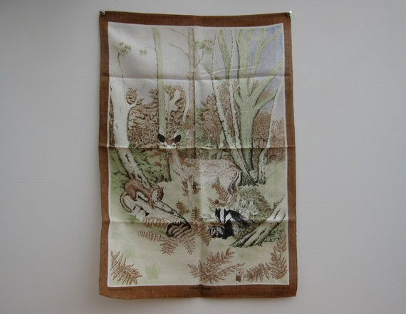 Reserved - SALE 50% OFF - Vintage Tea Towel Forest Glade, Unused/Mint/Dish Cloth/Kitsch //TP25