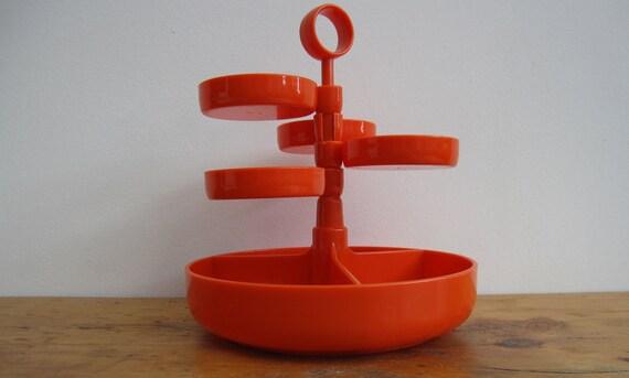 Vintage Party Snack Tray/Server - 1970s/Mod/Orange Plastic //HG58