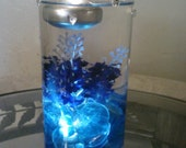 Blue and Purple Wedding Centerpiece, Glass Vase, Special Occasion, Floating Candle, Underwater Light