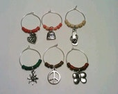 Wine Glass Charms, Summer Wine Charms, Purse, Butterfly, Peace, Sun, Flip-flop, Heart