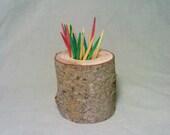 Toothpick Holder, Rustic Decor, Log, Wood, Miniature