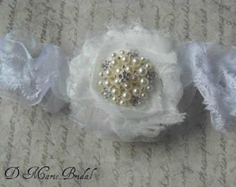 White Flower and Pearl and Rhinestone Vintage Wedding Bridal Garter  Bride