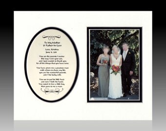 Wedding To My Mother and Father-In-Law  Personalized Gift Bridal Favor Bride Groom Parents Thank You