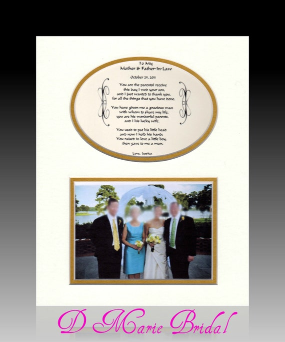 Wedding Gifts For Father In Law : Wedding To My Mother and Father-In-Law Personalized Gift Bridal Favor ...