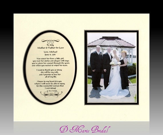 Wedding Gift From Groom To Mother In Law : My Mother and Father-In-Law Personalized Gift Bridal Favor Bride Groom ...