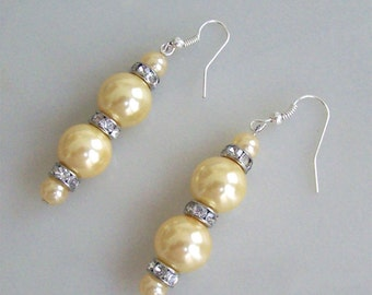 Bridal Earrings Ivory Pearl, Swarovski Crystal, Silver, Dangle Earrings, long, hand made, original, new.