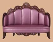 Lilac colored children's sofa w rhinestone coneflower design