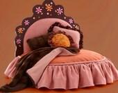 Pink and orange tiara pet bed with rhinestone flower design