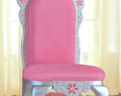 Diamond Tiara Princess Chair in pink faux suede