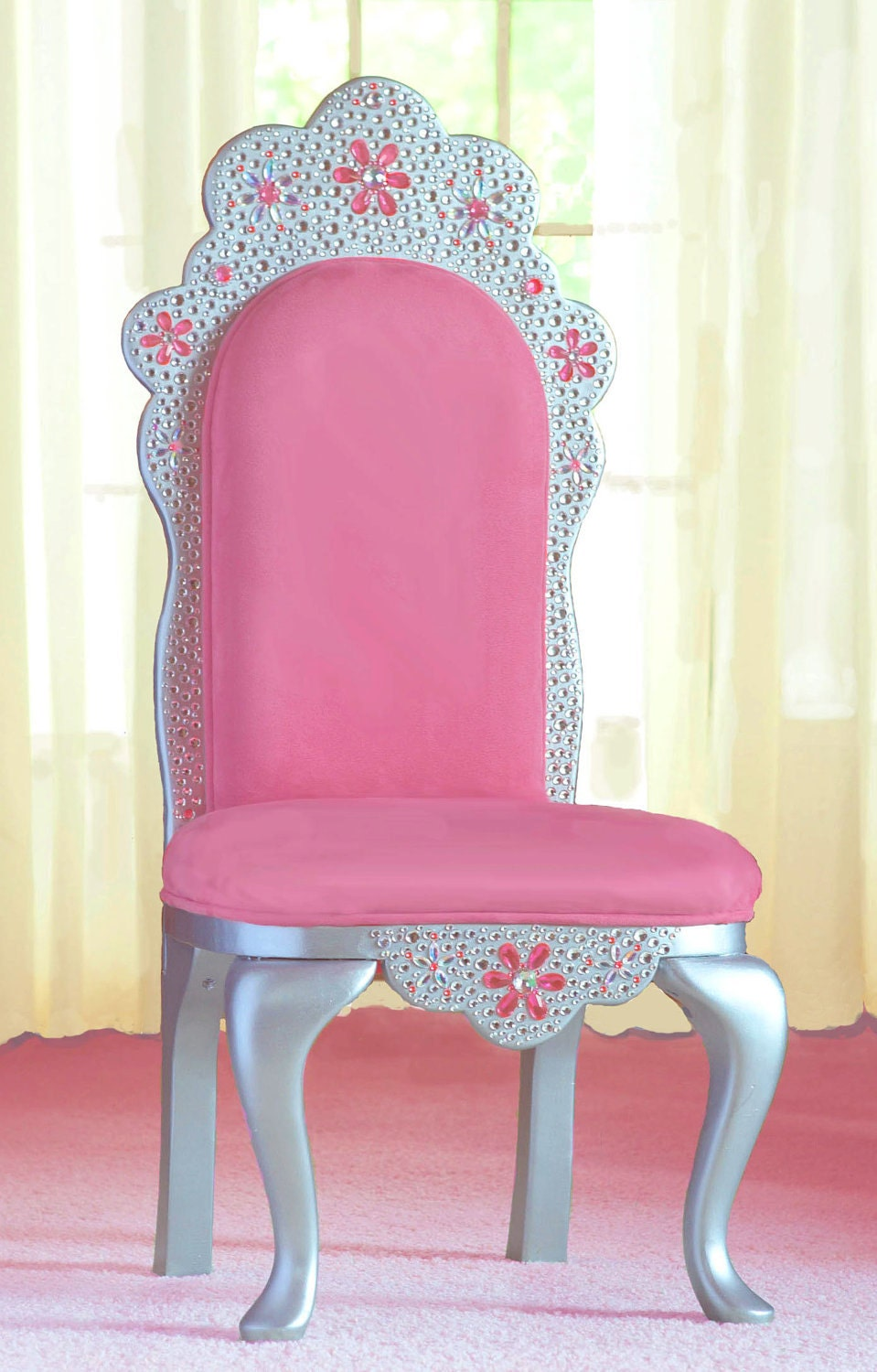 Items similar to diamond tiara princess chair in pink faux suede on etsy