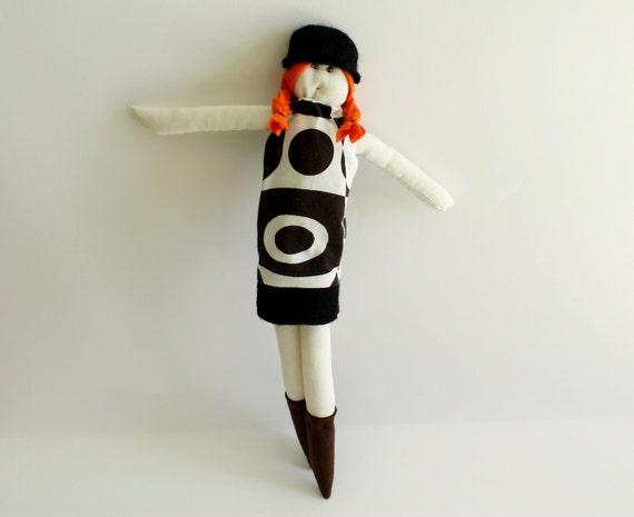OOAK doll Beltrana in a brown & white psychedelic dress