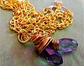 Twin Violet Quartz Facetted, Teardrop Briolettes Wrapped in Gold Wire Necklace