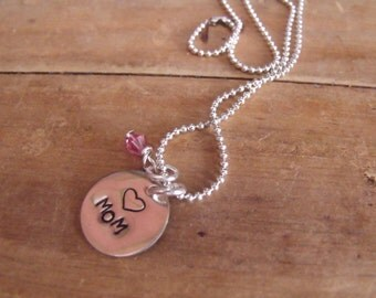 Hand Stamped Mom Mommy Necklace