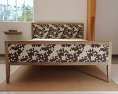 Custom  Upholstered  Bleached Solid  Walnut Queen Bed