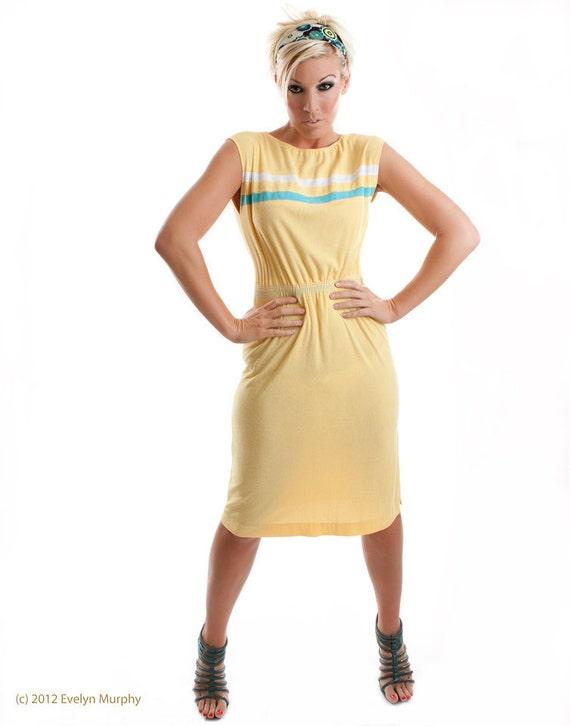 Vintage Mod Terry Cloth Dress Pale Yellow with Aqua & White Stripes