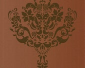 Large Wall  Damask STENCIL Pattern FAUX MURAL 1004