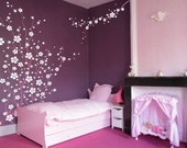 Large Wall Tree Nursery Decal Japanese Magnolia Cherry Blossom Flowers Branch 1121 (7 feet tall)