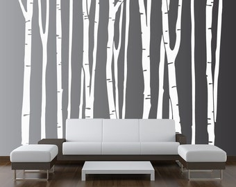 Large Wall Birch Tree Decal Forest Kids Vinyl Sticker Removable (9 trees) 5 foot tall 1109