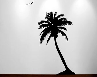 Palm Coconut Tree Wall Decal with seagull birds 1107 (5 feet tall)