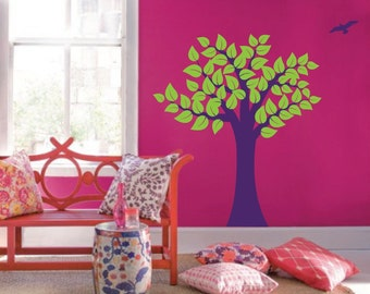 Large Wall Tree Nursery Decal Girl Room Decor with Leaves and Birds 1137 (5 feet tall)