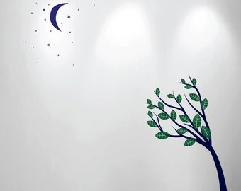 Large Wall Tree Nursery Decal Moon Stars Night Sky 1138 (6 feet tall tree)